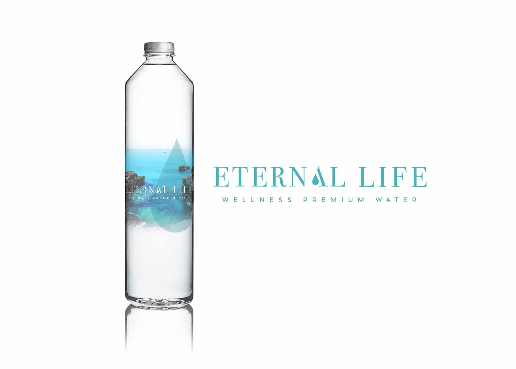 eternal life, water branding, premium water brand identity, branding